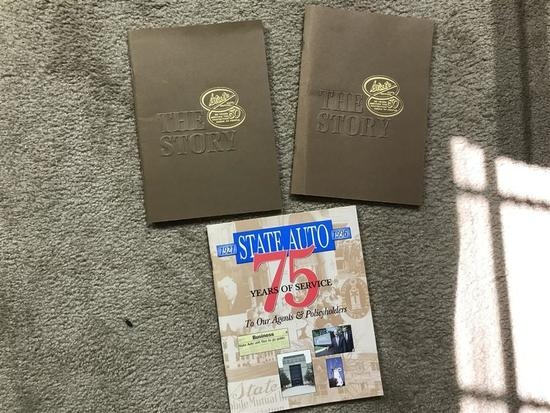 3 old advertising commemorative State Auto books