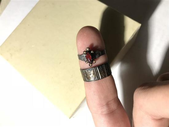 2 Early 19th Century Rings Garnet, Sterling Silver