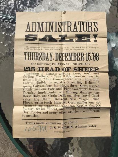 1898 Auction Poster w/Unusual Obituary Farm Death