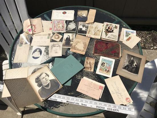 Large Lot Old Photos, RPPC Postcards, Valentine etc