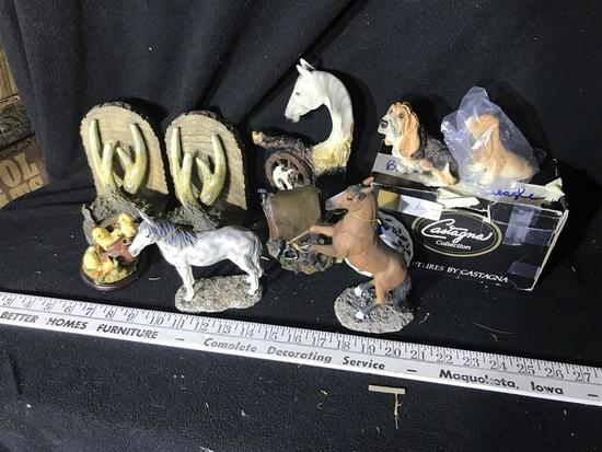Group Lot of Horse Sculptures Figures Western etc