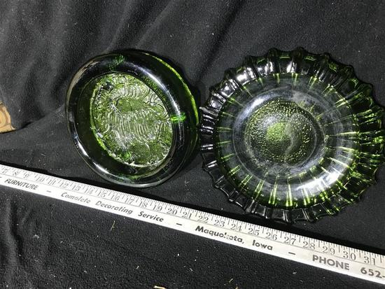 Two Heavy Green Glass Ashtrays
