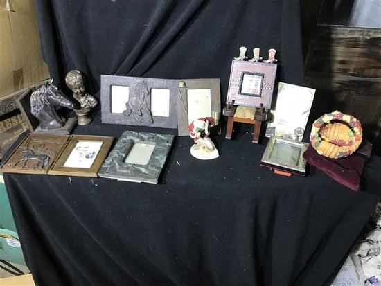 Horse Collectibles, Frames, Statue etc Lot