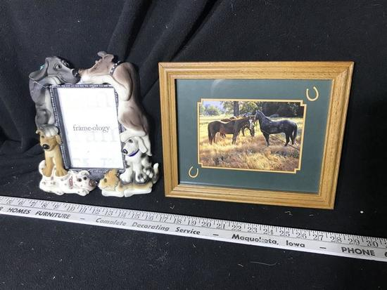 2 Framed Pieces - Dogs and Horses