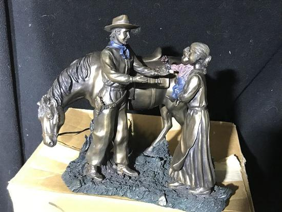 Western Sculpture Resin Cowboy w/Mother, Child