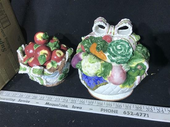 Two Ceramic Lidded Containers