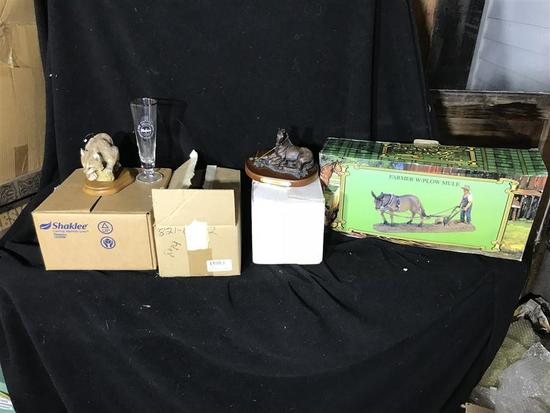 Group Lot Horse Collectibles,Beer Glasses Etc