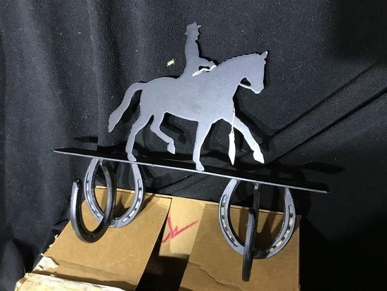 Metal Horse and Rider Horseshoe Hat or Coat Rack