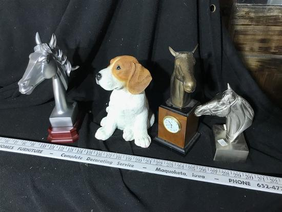 Horse Statues and Dog Figurine Lot