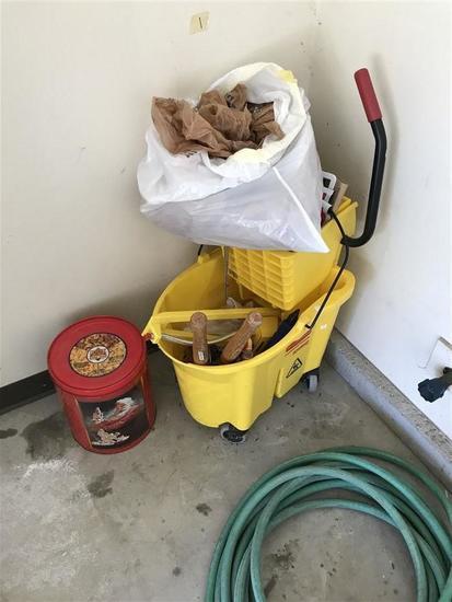 Mop bucket, hose lot