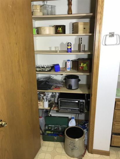 Contents of Closet: Tools, Crock, Cookware etc
