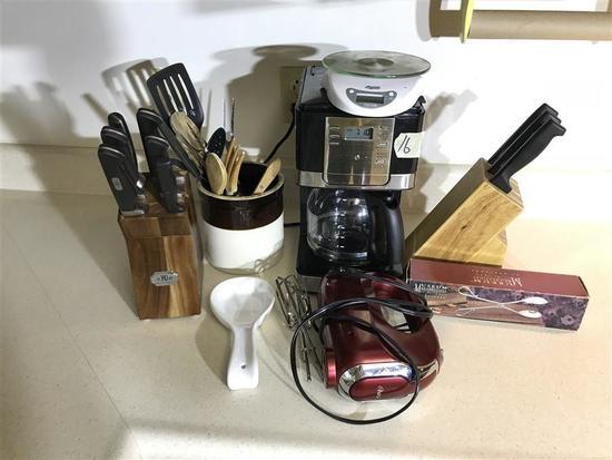 Knives, Mixer, Coffee maker etc lot