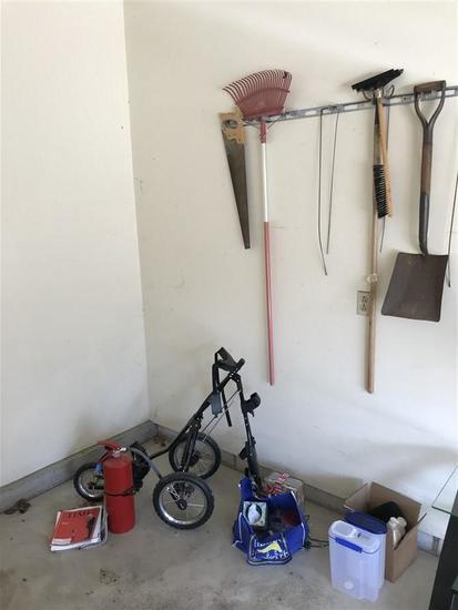 Corner clean out lot, tools, golf caddy, fire ext