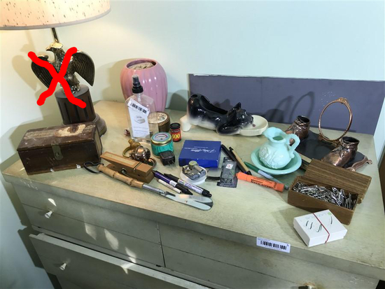 Group Lot of assorted collectibles on dresser
