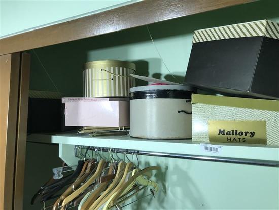 Shelf lot of Old Hats Including Christian Dior