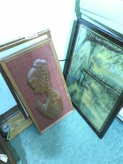 Eastern wooden framed art plus old print