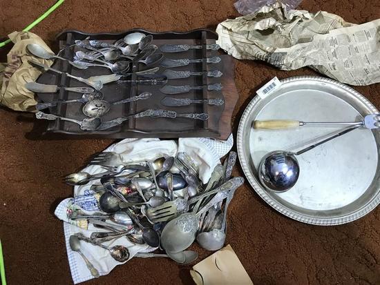 Large Lot early silverplate Flatware etc