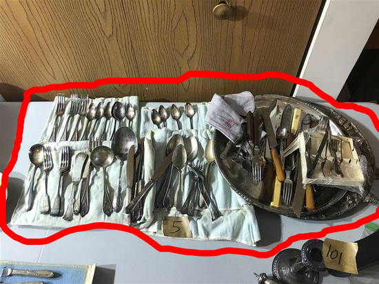 Large Lot Antique Silverplate Items Flatware
