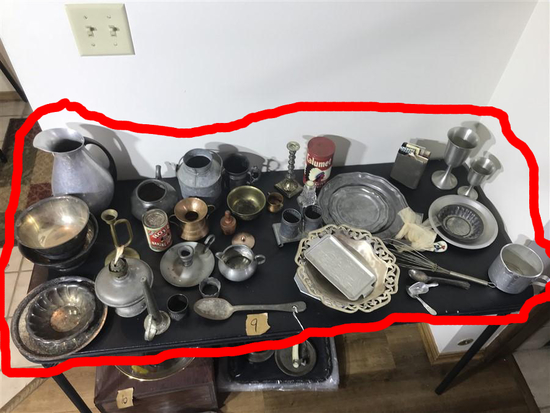 Table Lot Assorted Antique + Vintage Metal Wares
