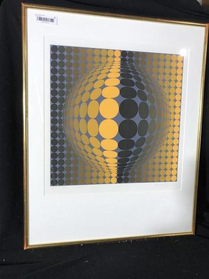 Vintage Ltd Edition Print Signed Victor Vasarely