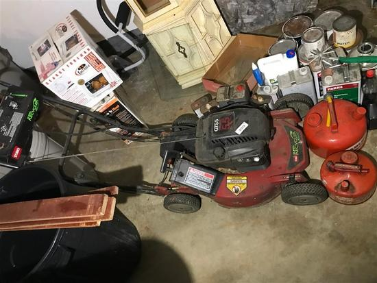 Push Lawn Mower and Two gas cans