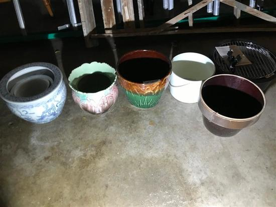 Group Lot Ceramic Planters jardinieres + grill