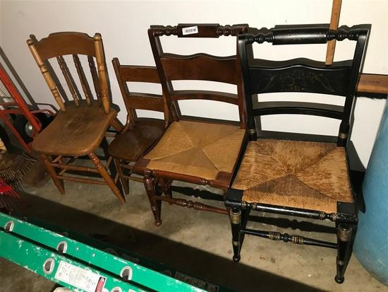 4 Antique Chairs Including Hitchcock Nice