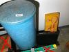 Blue Storage Barrel, Briefcase, Badminton Lot