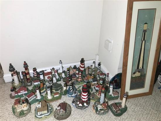 Large lot of collectible lighthouses, etc