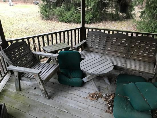 Group Lot of Wooden Patio Furniture