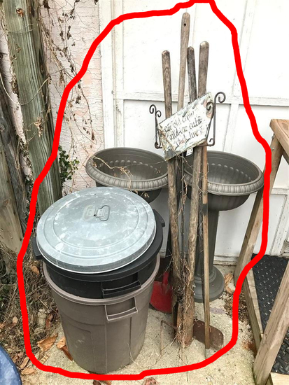 Group Lot of Hand Tools, Garbage Can, Planters