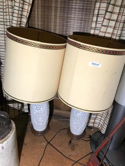 Pair of Asian Ceramic Lamps and Space Heater