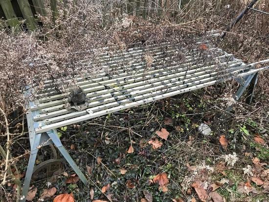 Metal Garden Table - Slats on Saw Horses