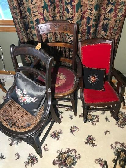 Group Lot of 3 Antique Chairs - Smaller Size