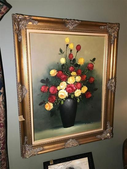 Very Large Vintage Oil on Canvas Painting Flowers