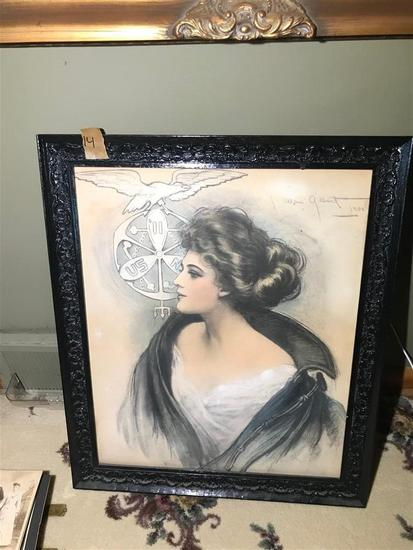 Antique Naval Academy Navy Girl Lithograph in Fame