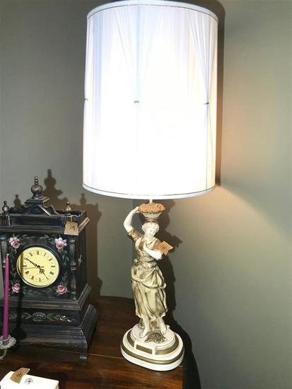Vintage Ceramic Lamp Italian Maiden w/Grapes MCM