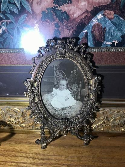Antique Ornate Brass Picture Frame w/Baby Photo