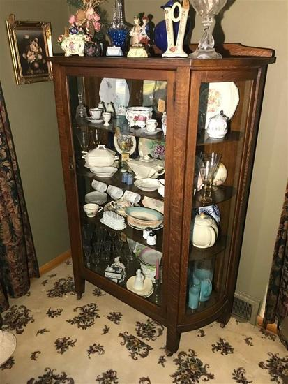 Antique Oak Large China Display Cabinet Curved