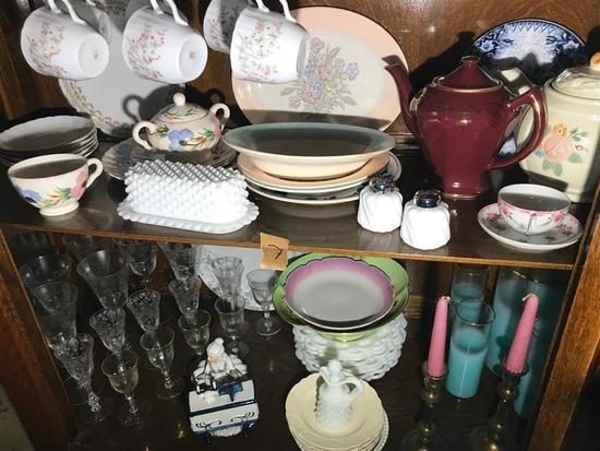 Two Shelf Lots Antique Glass, China Porcelain etc