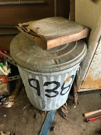 Antique Galvanized Garbage can & Hose on Top