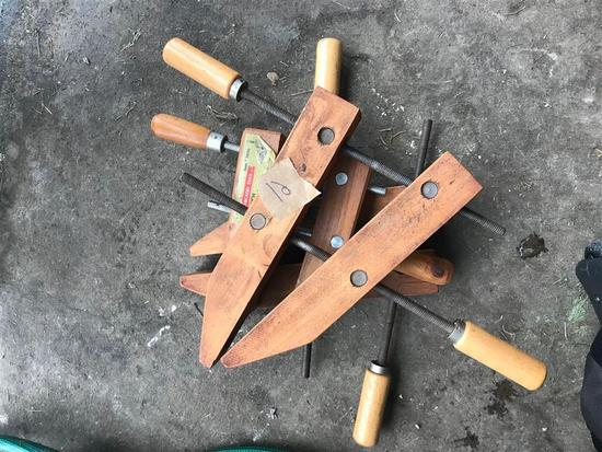 Stack of Vintage Wooden Clamps