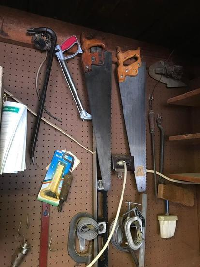 Group Lot Tools on Wall Antique Saws etc