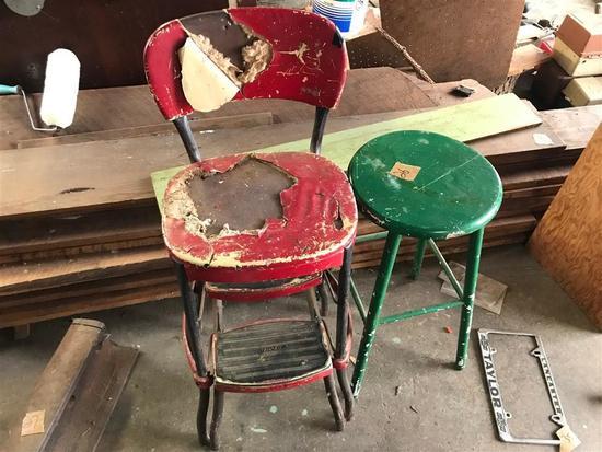 2 Vintage Shop Stools Metal and Wood