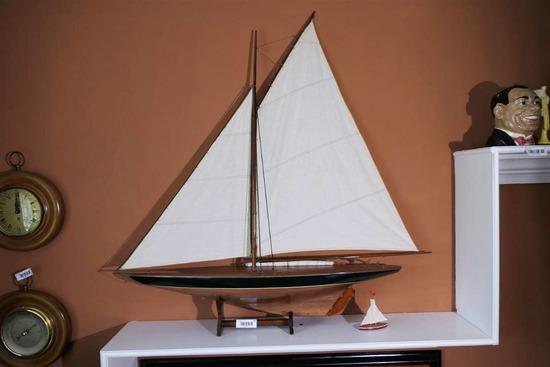 Large Sized Vintage Wooden Model Sailboat Nice