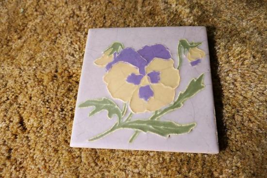 Antique Art Pottery Tile w/Flower Design