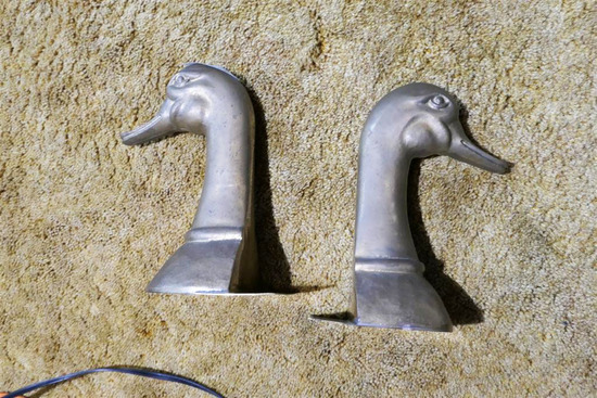 Pair Heavy Made in Spain Brass Geese Bookends