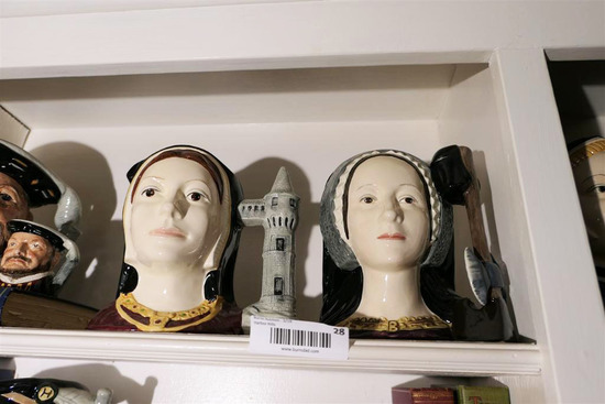2 Vintage Toby Jugs Mugs Catharine, Anne Boleyn