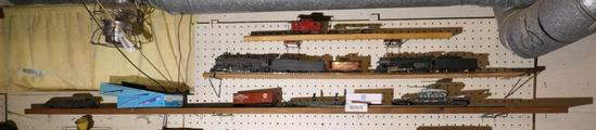 Three Shelves of Model Railroad Engines & More HO