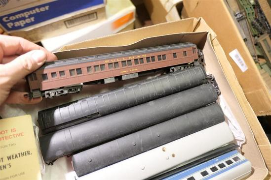 3 Boxes Model Railroad Items Cars Scenery Etc